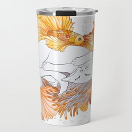 Cat and Golden Fishes Travel Mug
