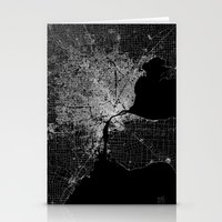detroit Stationery Cards featuring Detroit map  by Line Line Lines
