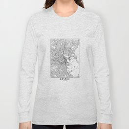 Boston White Map Long Sleeve T-shirt