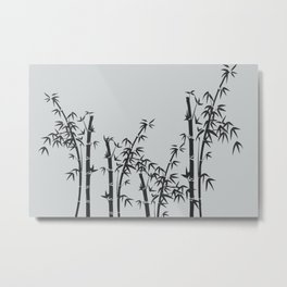 Bamboo black - grey Metal Print