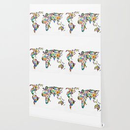 Floral World Map Wallpaper