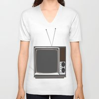 tv V-neck T-shirts featuring Television by Jarom Ward