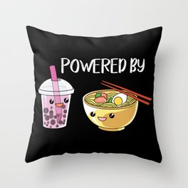 Powered by Ramen and Boba-Tea Throw Pillow