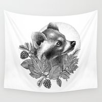 raccoon Wall Tapestries featuring RACCOON by Thiago Bianchini