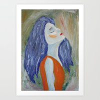 Girl In Orange  Art Print
