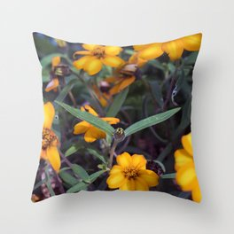Small Orange Flowers Throw Pillow