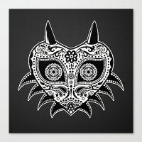 majoras mask Canvas Prints featuring Sugarskull / Majoras mask / black'n'white by tshirtsz