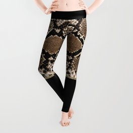 Modern black brown gold snake skin animal print Leggings