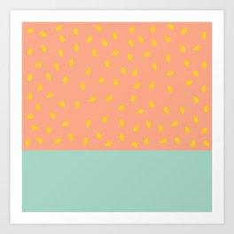 Peach Fuzz and Pit Art Print