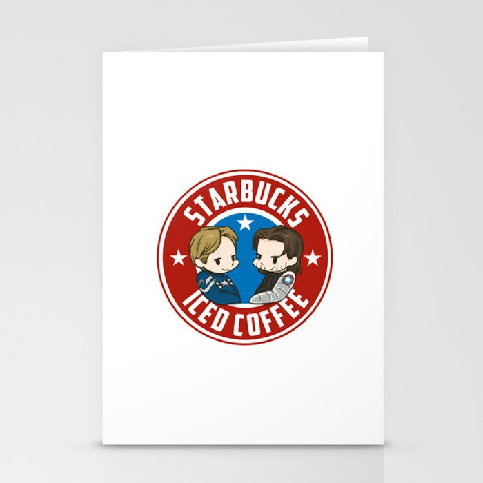 Starbucks steve rogers and bucky barnes iced coffee stationery cards