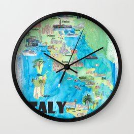 Italy Illustrated Travel Poster Favorite Map Tourist Highlights Wall Clock