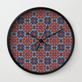 Multicolored Geo Rainbow Cheque Effect Pattern Wall Clock
