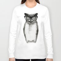 clock Long Sleeve T-shirts featuring Mr. Owl by Isaiah K. Stephens