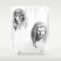 kili Shower Curtains featuring Fili and Kili by Morgan Ofsharick - meoillustration