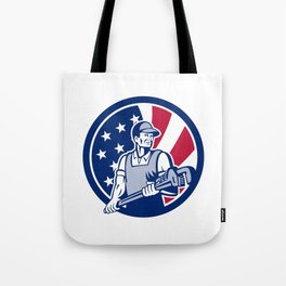 American Plumber and Pipefitter USA Flag Icon Tote Bag