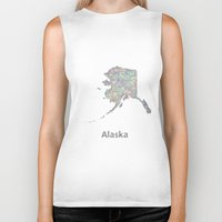 alaska Biker Tanks featuring Alaska map by David Zydd