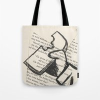 mad hatter Tote Bags featuring Mad Hatter by Jordan Renae Arp