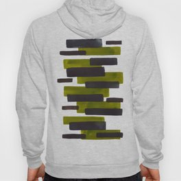 Olive Green Primitive Stripes Mid Century Modern Minimalist Watercolor Gouache Painting Colorful Str Hoody