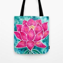Sacred Lotus – Magenta Blossom with Turquoise Wash Tote Bag