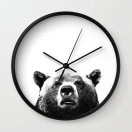 Black and white bear portrait Wall Clock