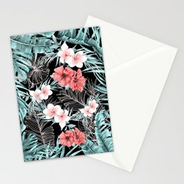 Black & Rose Gold Pink Island Paradise Stationery Cards