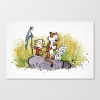 calvin hobbes Canvas Prints featuring Calvin n hobbes by TEUFEL_STRITT666