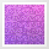 mosaic Art Prints featuring Pink purple mosaic by David Zydd