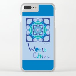 World Citizen Mandala with Word (top bottom) - Blue Green Clear iPhone Case