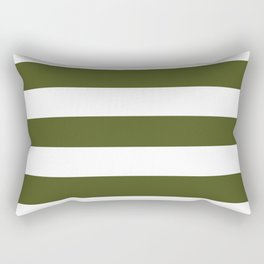 Army green - solid color - white stripes pattern Rectangular Pillow
