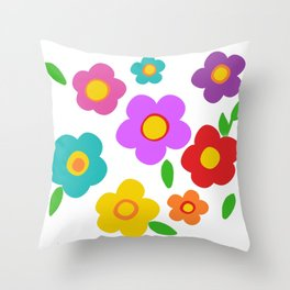 rainbow flowers retro groovy floral Throw Pillow