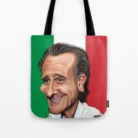 world cup Tote Bags featuring  Cesare Prandelli World Cup by Michael Paci