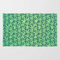 cannabis Area & Throw Rugs featuring  Cannabis / Hemp / 420 / Marijuana  - Pattern by badbugs_art