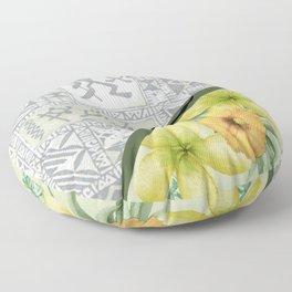 Tribal Hawaiian Tapa and Plumeria Floor Pillow