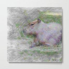 Artistic Animal capybara Metal Print