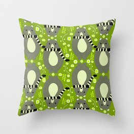Bears and flowers in green Throw Pillow