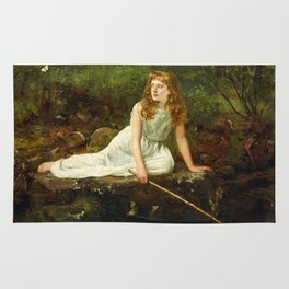 """John Collier """"The Butterfly inscribed 'Portrait of Mabel...'"""" Rug"""