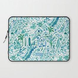 IDEAL BEACH HOUSE Aqua Watercolor Print Laptop Sleeve