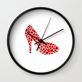 Love my heels- shoe with red hearts Wall Clock