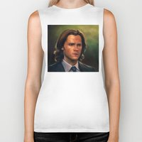 sam winchester Biker Tanks featuring Sam Winchester from Supernatural by Annike