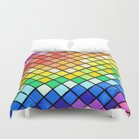 pantone Duvet Covers featuring Geo-Pantone by Aries Art