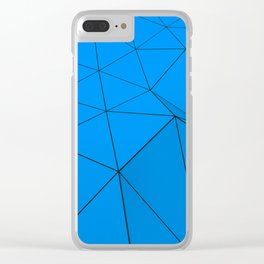 Blue low poly displaced surface with black lines Clear iPhone Case