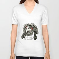 jesus V-neck T-shirts featuring Jesus by mothermary