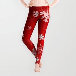 Light Red Snowflakes Leggings