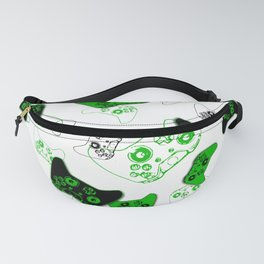 Video Game White and Green Fanny Pack