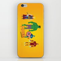 super heroes iPhone & iPod Skins featuring Super Heroes - Pixel Nostalgia by Boo! Studio