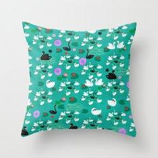 swan lake pattern-teal Throw Pillow
