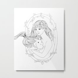 Rabbit Heart-Line Drawing Metal Print
