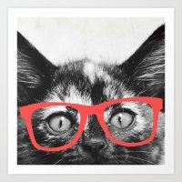 sassy Art Prints featuring Sassy Kitten by Allyson Johnson
