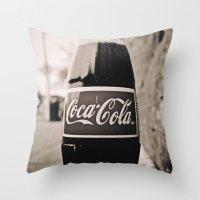 coca cola Throw Pillows featuring Coca-Cola closer by Vorona Photography