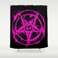 pentagram Shower Curtains featuring Pink Pentagram by brutalitees